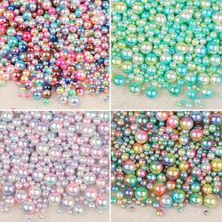 Keine Loch Mix Regenbogen Farbe Runde 4/6/8/10mm ABS Imitation Perle Perlen Lose Perlen diy Schmuck Halskette, für frauen 50-500 PCS