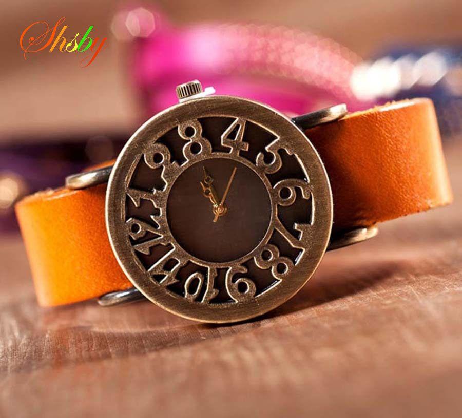 Shsby Nueva Roma Estilo Vintage ahueca hacia fuera digital relojes correa de cuero genuino de la vaca relojes mujer vestido reloj de cuarzo femenino