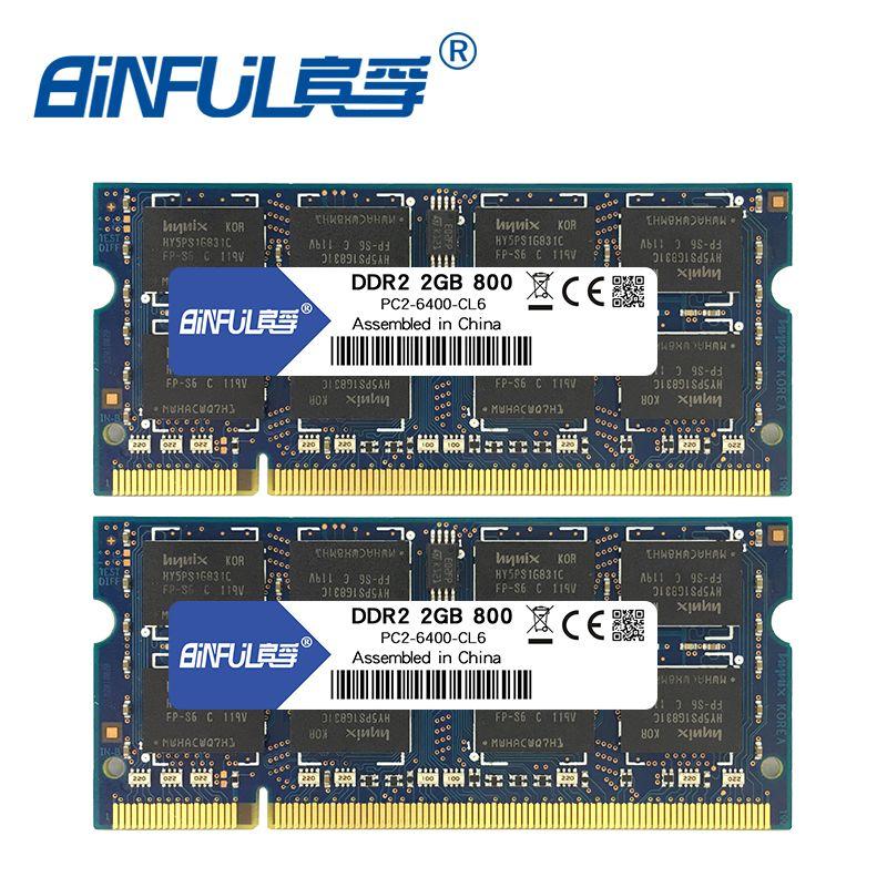 Binful 4 gb (2x2 gb) DDR2 PC2-5300 667 mhz PC2-6400 800 mhz 4 gb (Kit de 2,2X2 gb pour Double Canal) mémoire Ram Ordinateur Portable Notebook