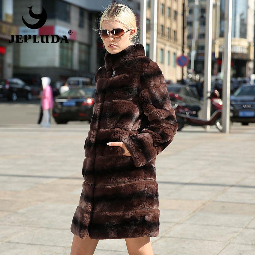 JEPLUDA Elegante Frauen Verschiedene farben Natürliche Echt Rex Kaninchenfell mantel Ärmel und Saum Abnehmbaren Echten Pelzmantel Warme Pelz jacke