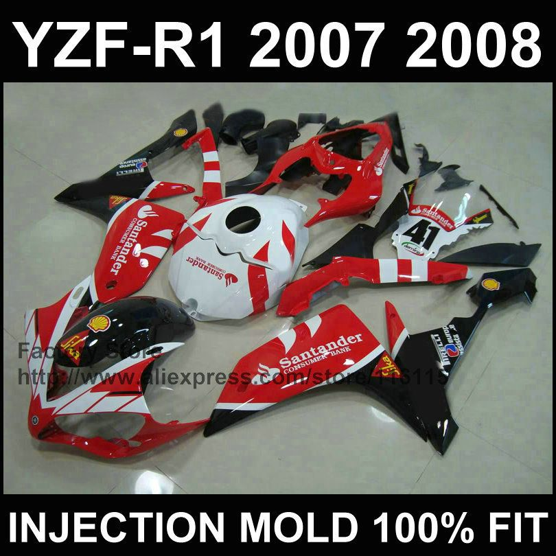 Custom Chinese motorcycle injection ABS fairings for YAMAHA YZFR1 2007 2008 YZF R1 07 08 red santander fairing parts