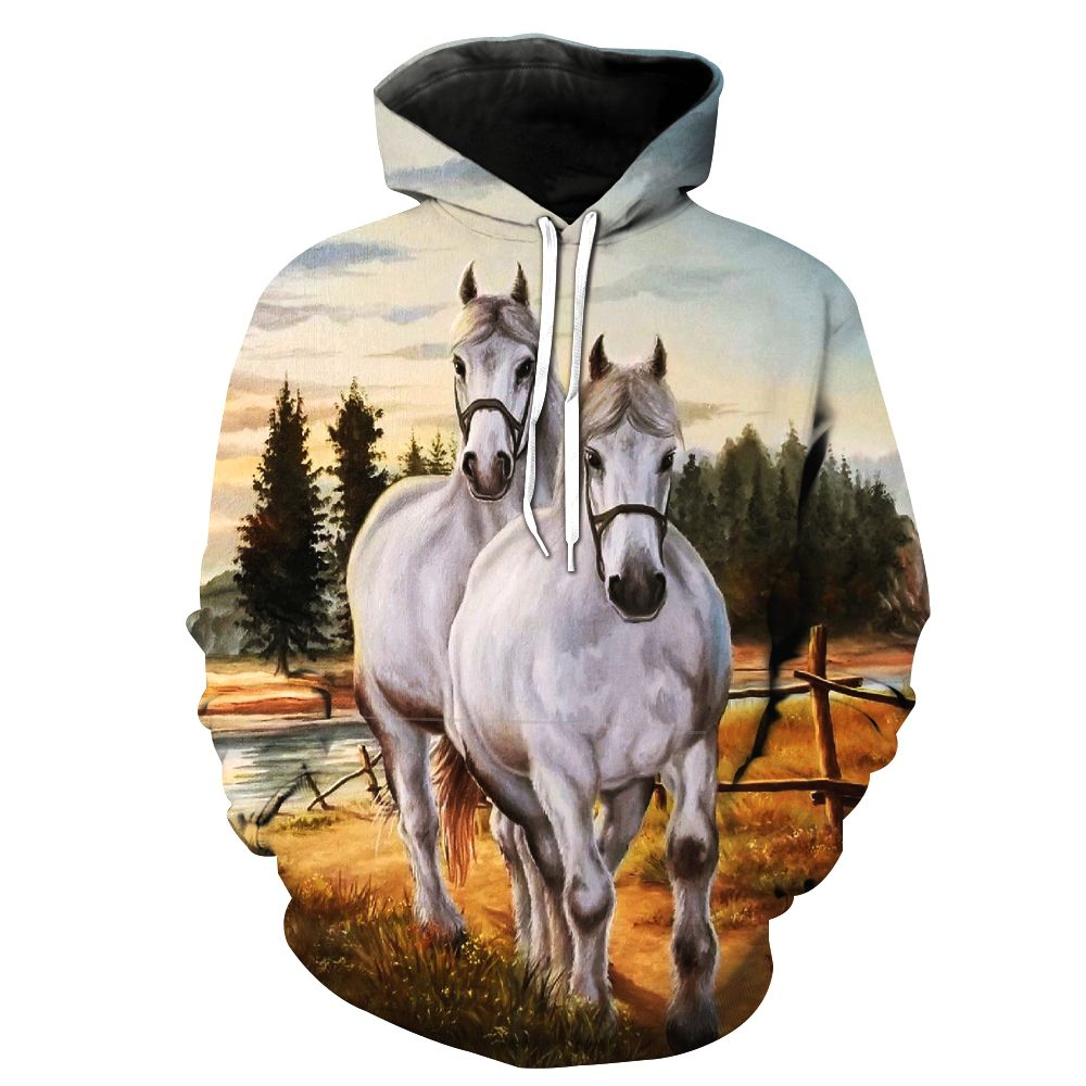 2018 New Fashion Sweatshirt Men / Women 3d Hoodies Print white horse animal pattern Slim Unisex Slim Stylish Hooded Hoodies