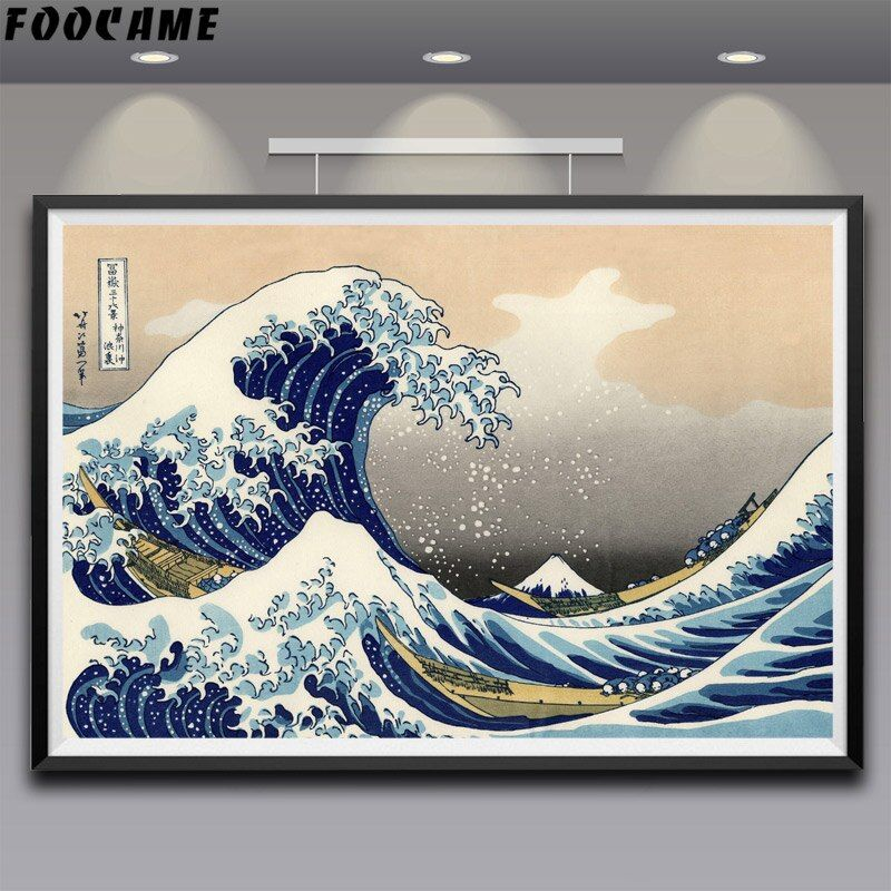 FOOCAME Katsushika Hokusai grande vague au large Kanagawa soie affiches Art imprime peinture décorative photos salon décoration