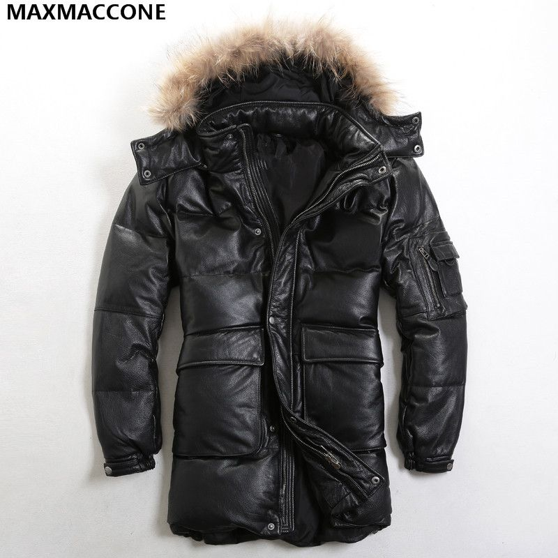 2018 Black Men Hood Long Goose Leather Down Jacket Genuine Sheepskin Winter Thick Warm Russian Leather Down Coat FREE SHIPPING