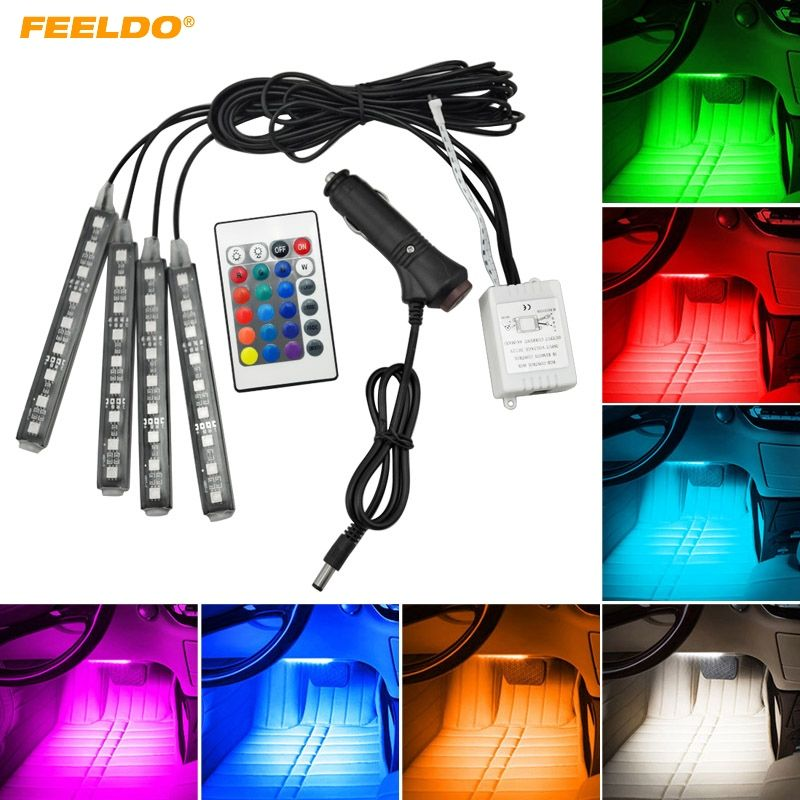 FEELDO 4Pcs/Set Car Interior Decorative RGB LED Strip Light Atmosphere Lamp Kit Foot Lamp With 24 Key Remote Controller #CA4567