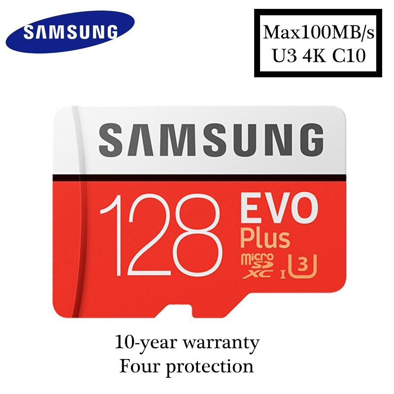 Samsung micro sd card 128GB EVO PLUS max100MB / s Class10 SDXC U3 4K Memory Card TF Flash Card for Smartphone Tablet etc