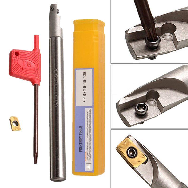 1 stück Mayitr BAP300R C10-10x120-1T Werkzeughalter Bohrstange + APMT1135PDER Insert + Schraubenschlüssel Für Drehmaschine Drehwerkzeuge