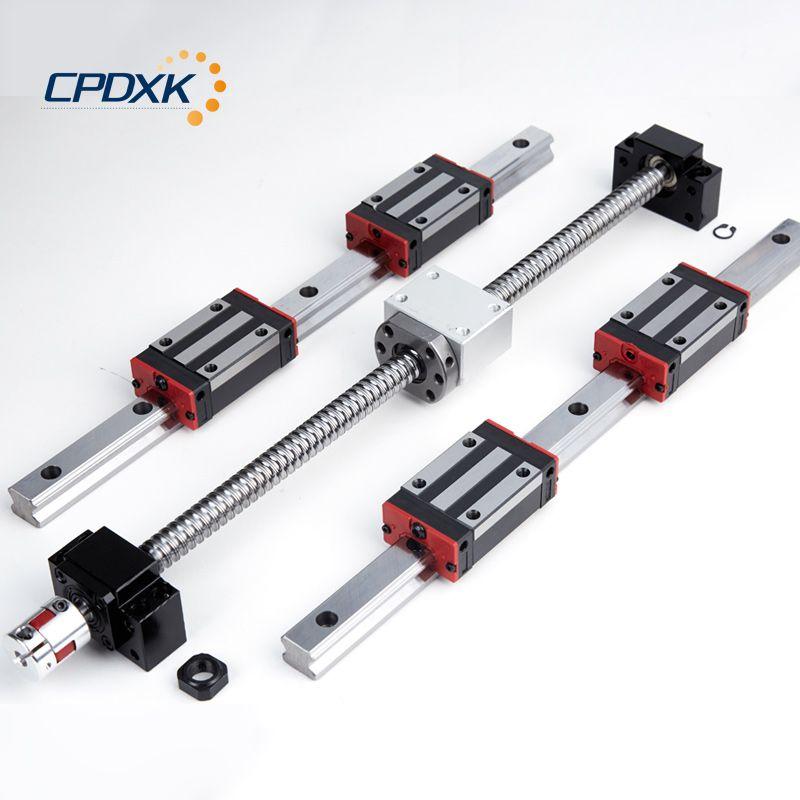 Platz linear guide HG20 600 400mm mit 22 stücke linear block HGH20CA + ball schraube RM1605 mit end bearbeitung und verwandte cnc teil