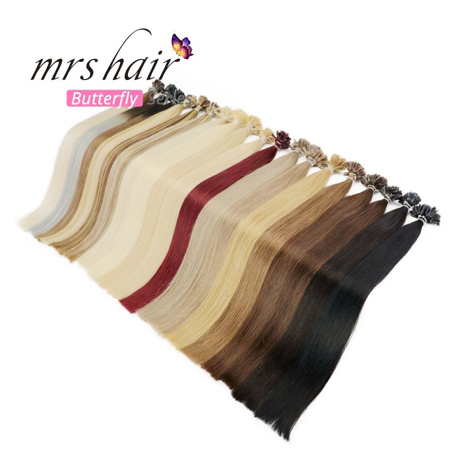 MRS HAIR 1g/pc 14 16 20 24 Fusion Hair Extensions Straight Machine Made Remy Nail Hair Keratin Pre Bonded <font><b>Human</b></font> Hair 50pcs