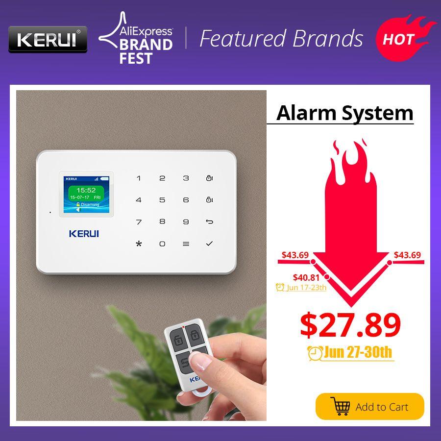 KERUI G18 système d'alarme de sécurité sans fil à domicile GSM kit de bricolage APP contrôle avec cadran automatique détecteur de mouvement capteur système d'alarme antivol