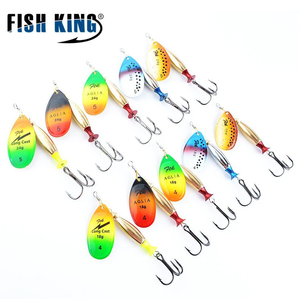POISSON ROI FTK Rri Long Cast 5 pcs/lot Pêche Leurre Spinner Appât De Pêche Artificiel Dur Faux Poissons Leurres En Métal ensemble