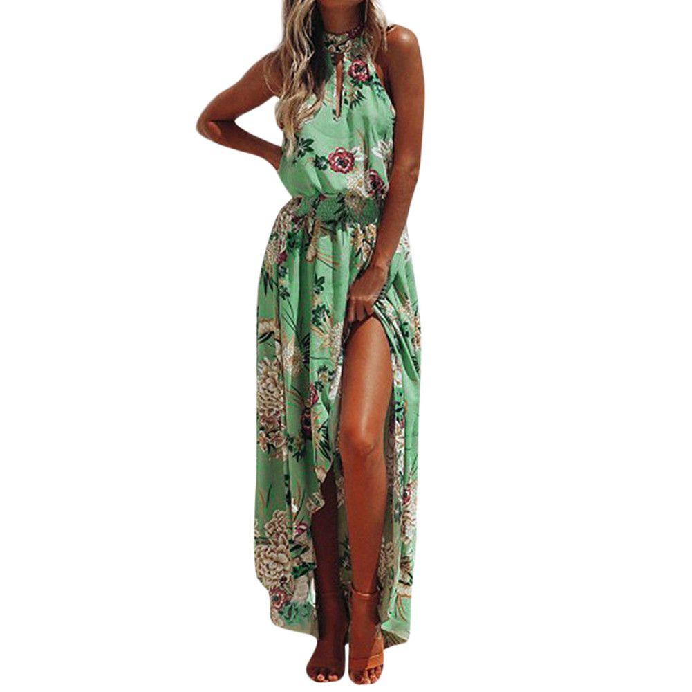CHAMSGEND dress2018 de femmes Mode Femmes Boho Floral Longue Maxi Robe Sans Manches Soirée D'été Plage Robe June28