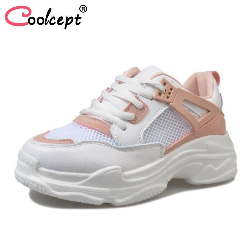 Coolcept Fashion Women Flats Shoes Round Toe Lace Up Breathable Shoes Daily Leisure Sneakers Shoes Women Footwear Size 35-40