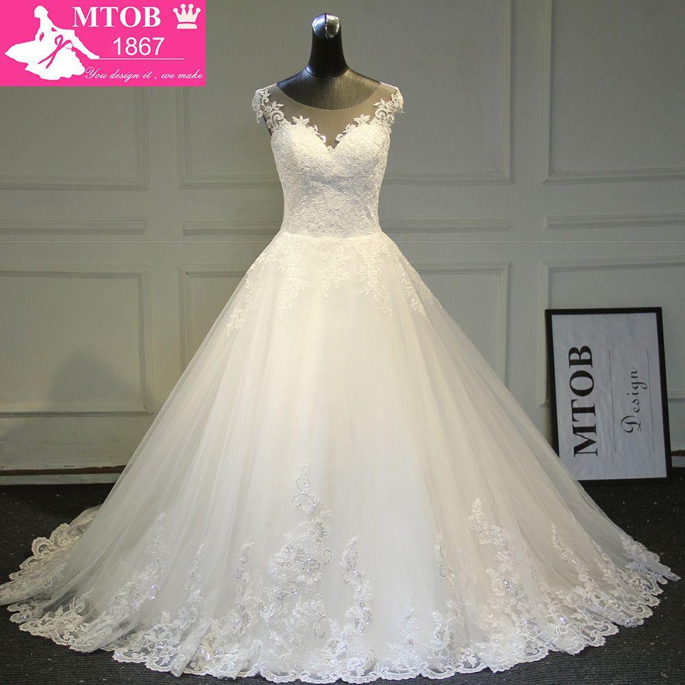 Elegant A-line Lace Wedding Dress 2018 Chapel Train Satin Bride Dresses Vintage Vestido De Noiva Renda MTOB1722