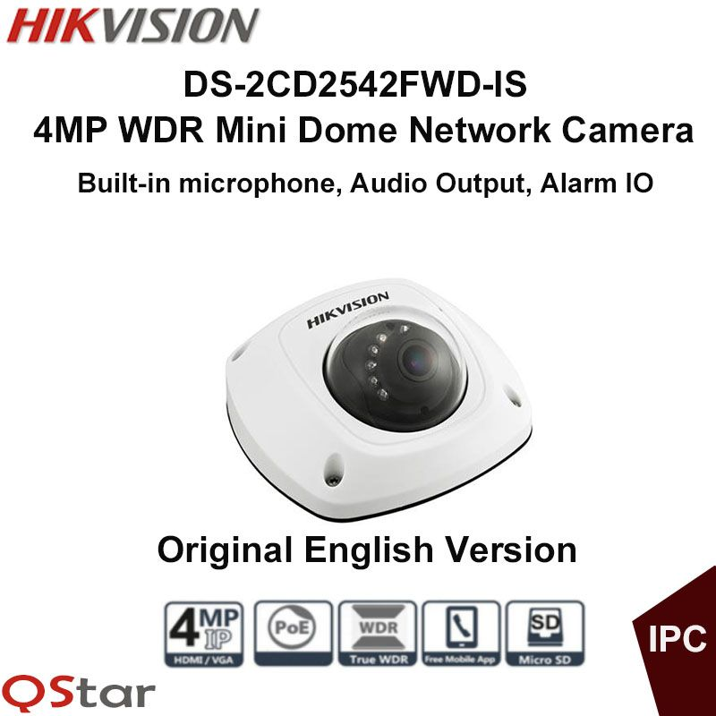 Hikvision Original English Security IP Camera DS-2CD2542FWD-IS 4MP WDR Dome Mini IP CCTV Camera POE built in microphone IP67