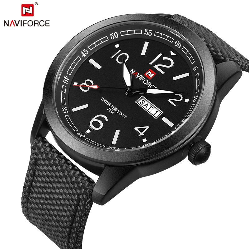 NAVIFORCE Original Luxury Brand Sports Military Quartz Watch Man Analog Date Clock Nylon Strap Wristwatch Relogio Masculino