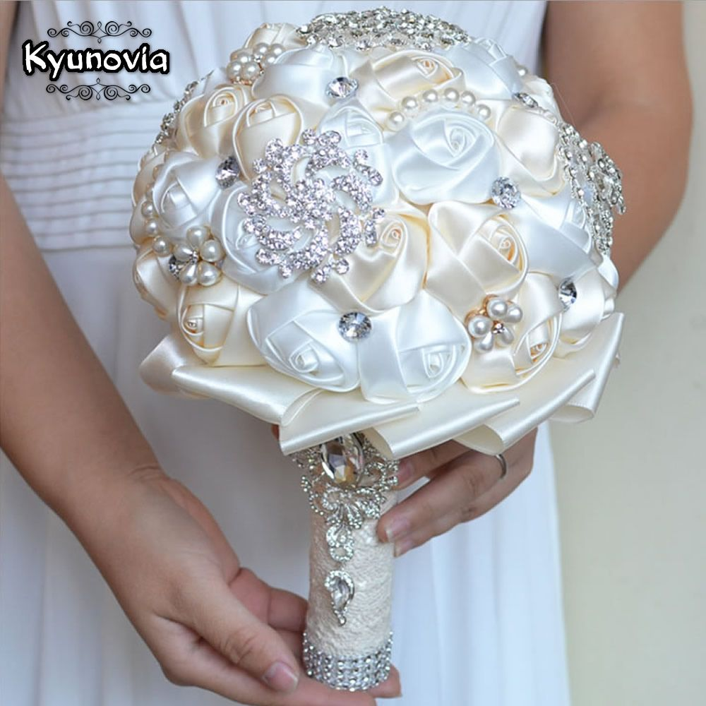 Kyunovia meilleur prix blanc ivoire broche Bouquet mariage Bouquet de mariage Bouquets de mariage perle fleurs buque de noiva FE29
