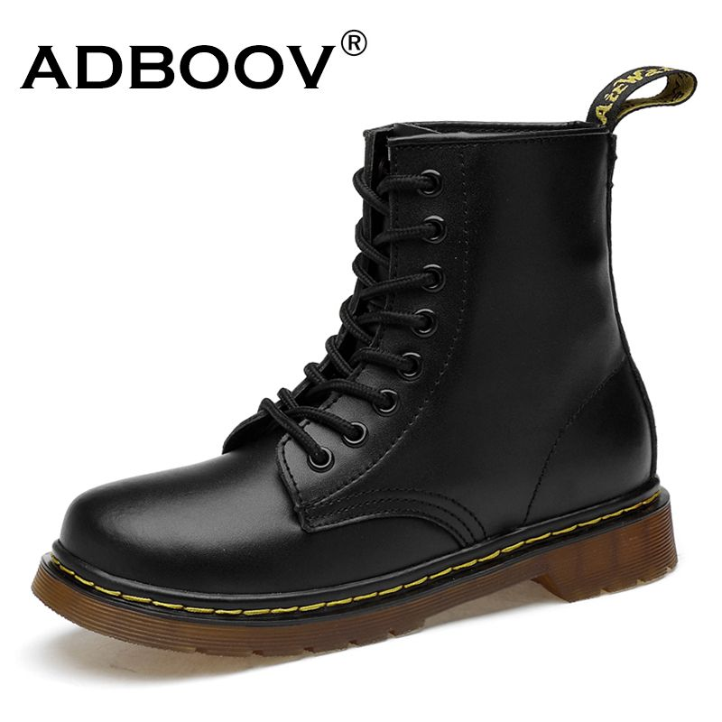 ADBOOV New PU Leather Ankle Boots Women Fall Winter Flat Platform Shoes Plus Size 35-42 Martins Boots Zip Motorcycle Booties
