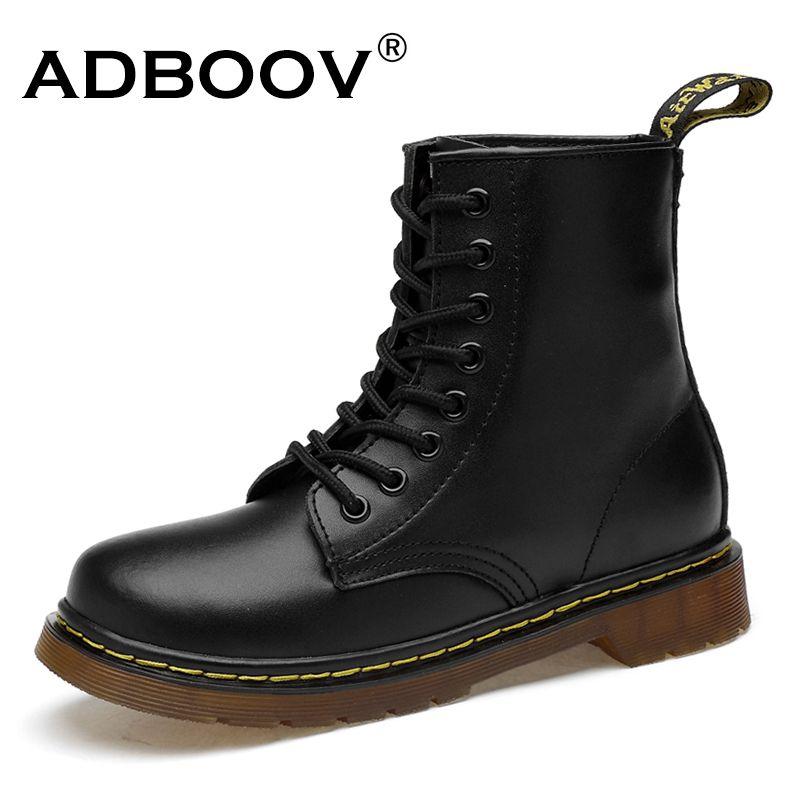ADBOOV Nouvelle PU En Cuir bottines Femmes Automne Hiver Plat chaussures à semelles compensées grande taille 35-42 Martins Bottes Zip Moto Chaussons
