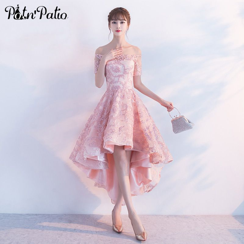 PotN'Patio High Low Homecoming Dresses Pink Off The Shoulder Lace Prom Party Dresses 2017