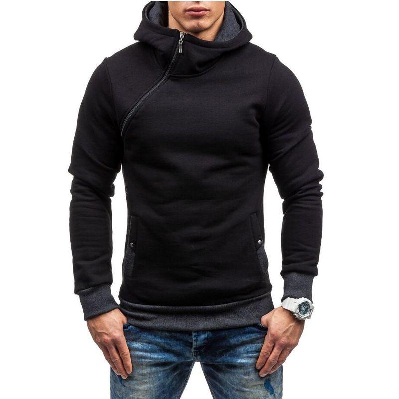 2017 Fashion Hoodies Men Sudaderas <font><b>Hombre</b></font> Hip Hop Mens Brand Solid hooded zipper Hoodie Cardigan Sweatshirt Slim Fit Men Hoody