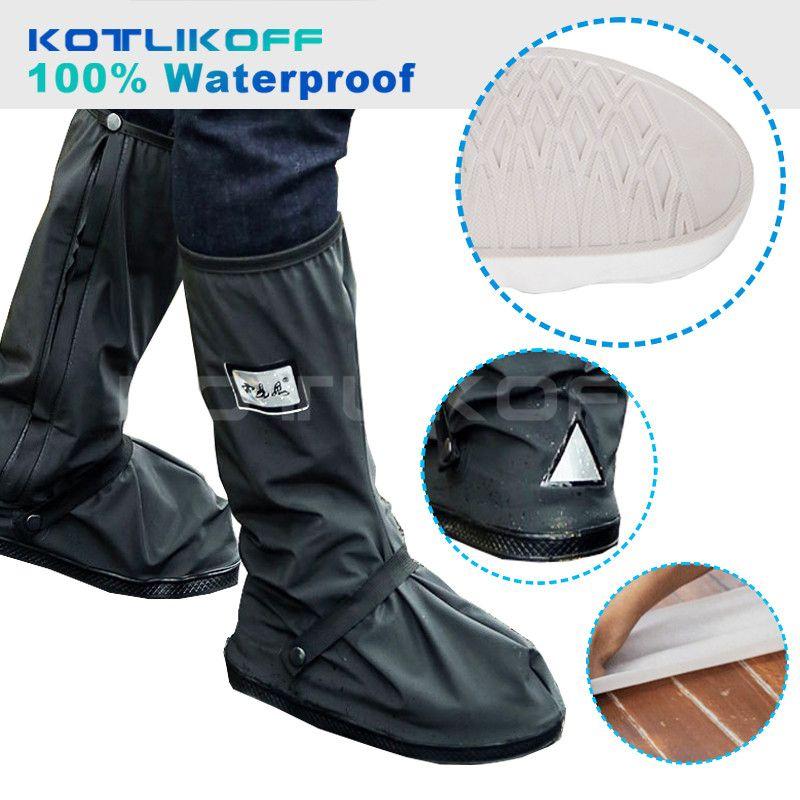 KOTLIKOFF Moto Imperméable Pluie Chaussures Couvre Plus Épaisses Scootor Non-slip Bottes Couvre 100% Étanche Réglage Étanchéité