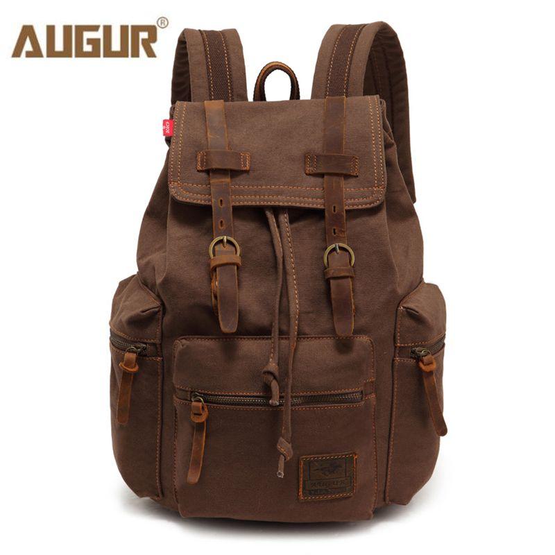 AUGUR New fashion men's backpack vintage canvas backpack school bag men's travel bags large capacity travel laptop backpack bag