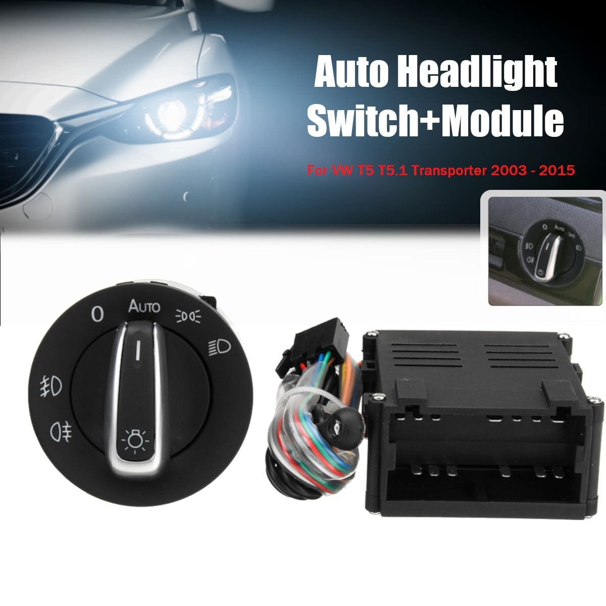 Car Auto Headlight Sensor HeadLamp Switch + Control Module for VW T5 T5.1 Transporter 2003-2015