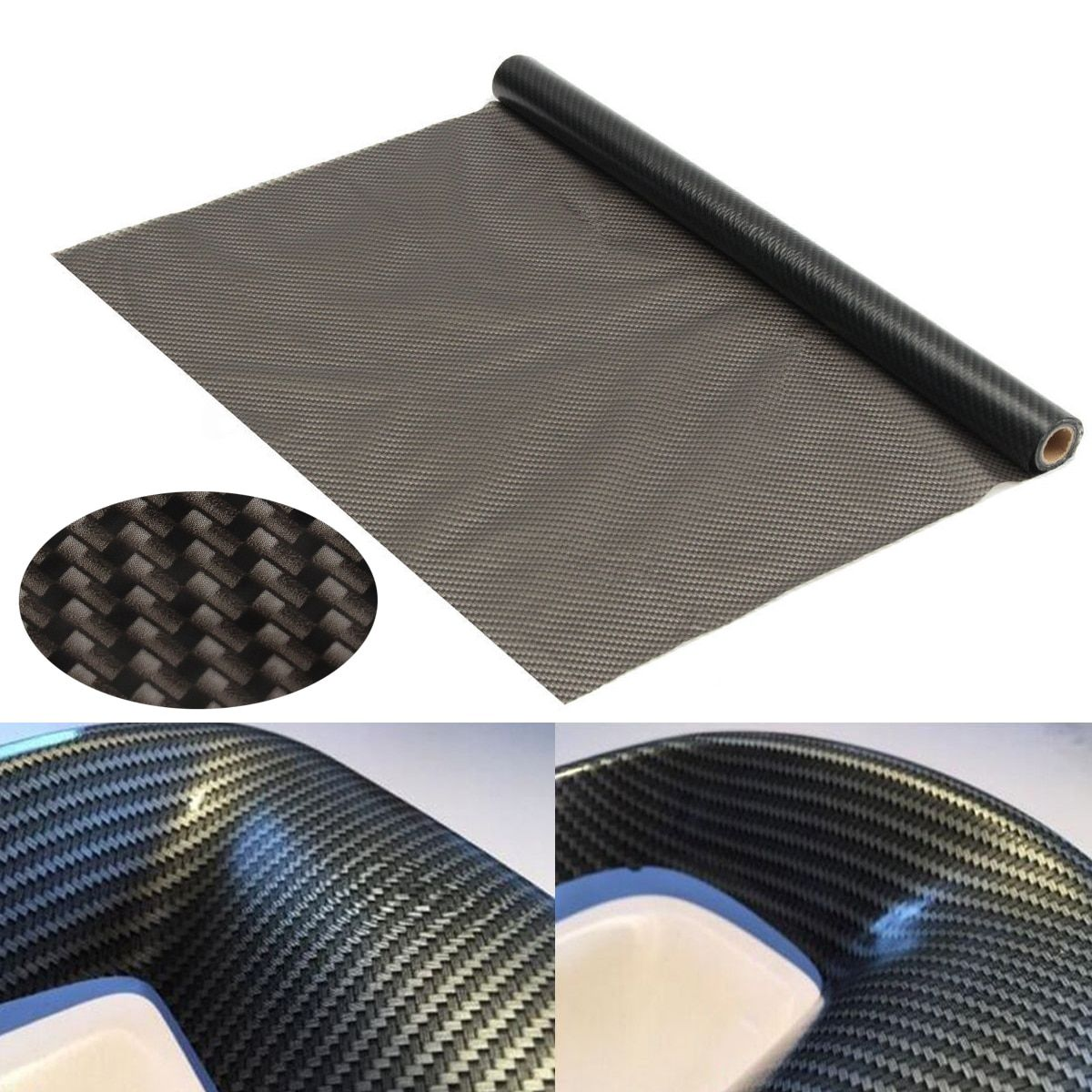 Black Water Transfer Dipping Printing Hydrographic Film Mayitr Carbon Fiber Texture Decorative Films for Auto DIY 50*500cm