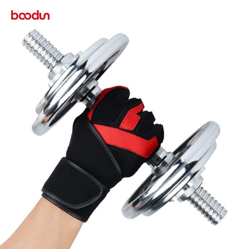 Boodun Sport Fitness Gloves Gym Men Genuine Leather Gloves Dumbbell Wrist Wear-resistant Bell Exercise Gloves Women