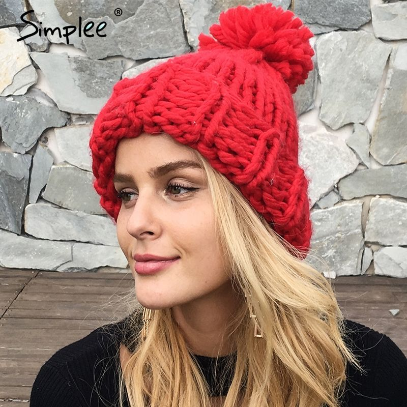 Simplee Knitting wool ball skullies beanies Casual streetwear warm hat cap Women autumn winter 2017 cute beanie hat female