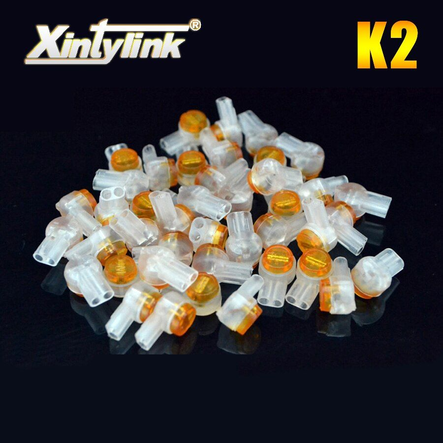 xintylink k2 connector crimp connection line terminals waterproof wiring ethernet cable telephone cord high quality 100pcs
