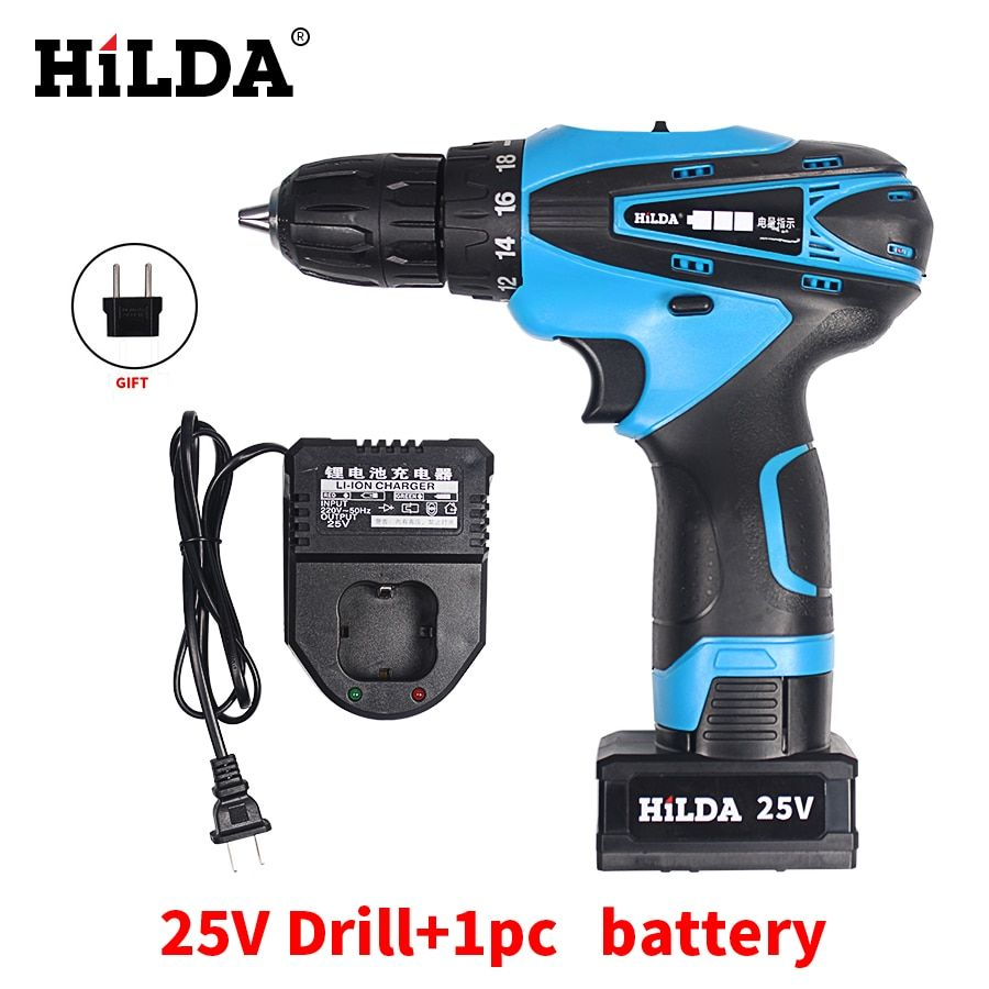 HILDA 25V Rechargeable Lithium Battery Cordless screwdriver hand electric drill household electric screwdriver