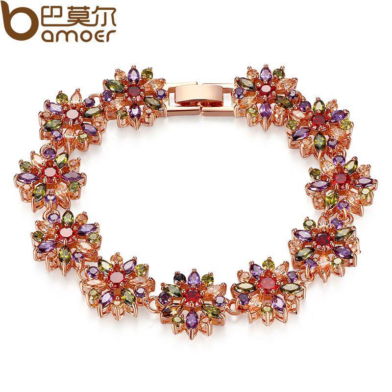 BAMOER CZ Chain Link Bracelet for Women Multi-Color Prong Setting Zircon Best Gift for Anniversary JIB009