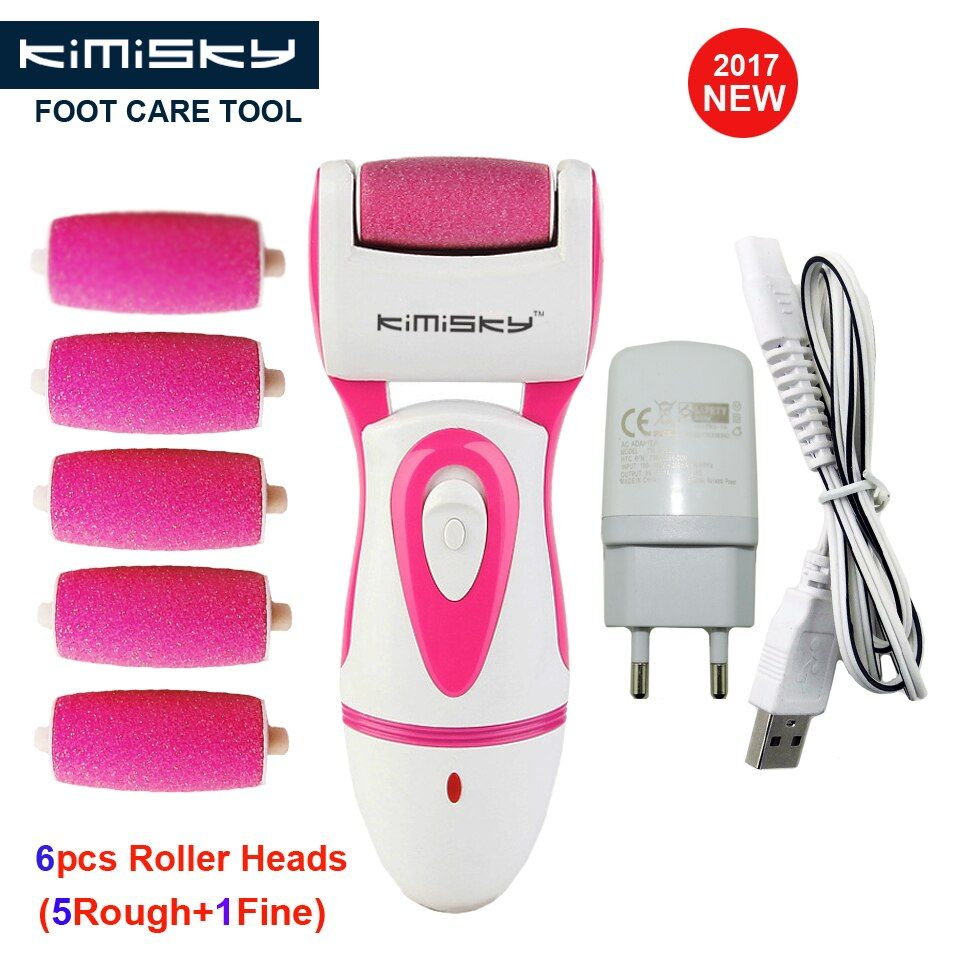 KIMISKY Red RECHARGEABLE Pedicure Electric Tools Foot Care Exfoliating Foot Care Tools PK Scholls Foot File 5Ps Rollers <font><b>Heads</b></font>