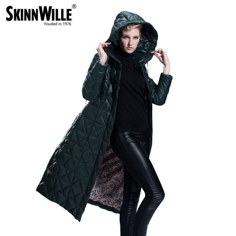 SKINNWILLE 2017Модель пуховика длинная скромная поясом Зимняя куртка женщин Зимняя пальто Новая Зимняя Коллекция зимние куртки женские