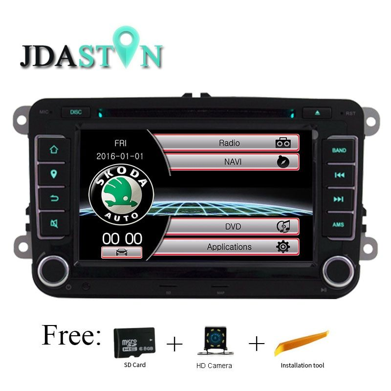 JDASTON 2 din Car DVD Player For Skoda Volkswagen VW Passat B6 Polo Golf Touran Sharan Jetta Caddy T5 Tiguan Seat Radio GPS Navi