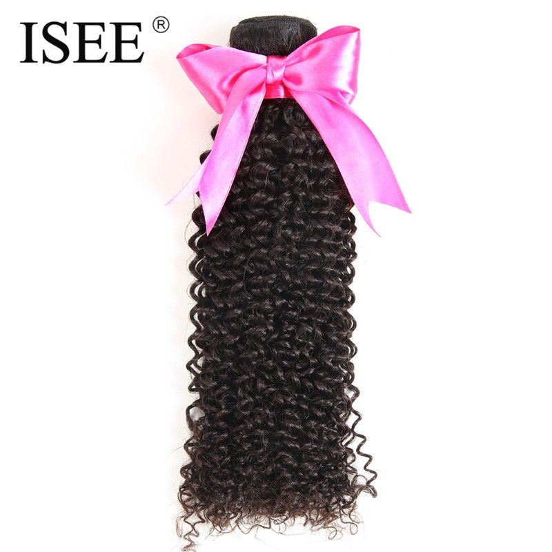 ISEE Mongolian Kinky Curly Hair Extension 100% Remy Human Hair Weaving Bundles Machine Double Weft Nature Color
