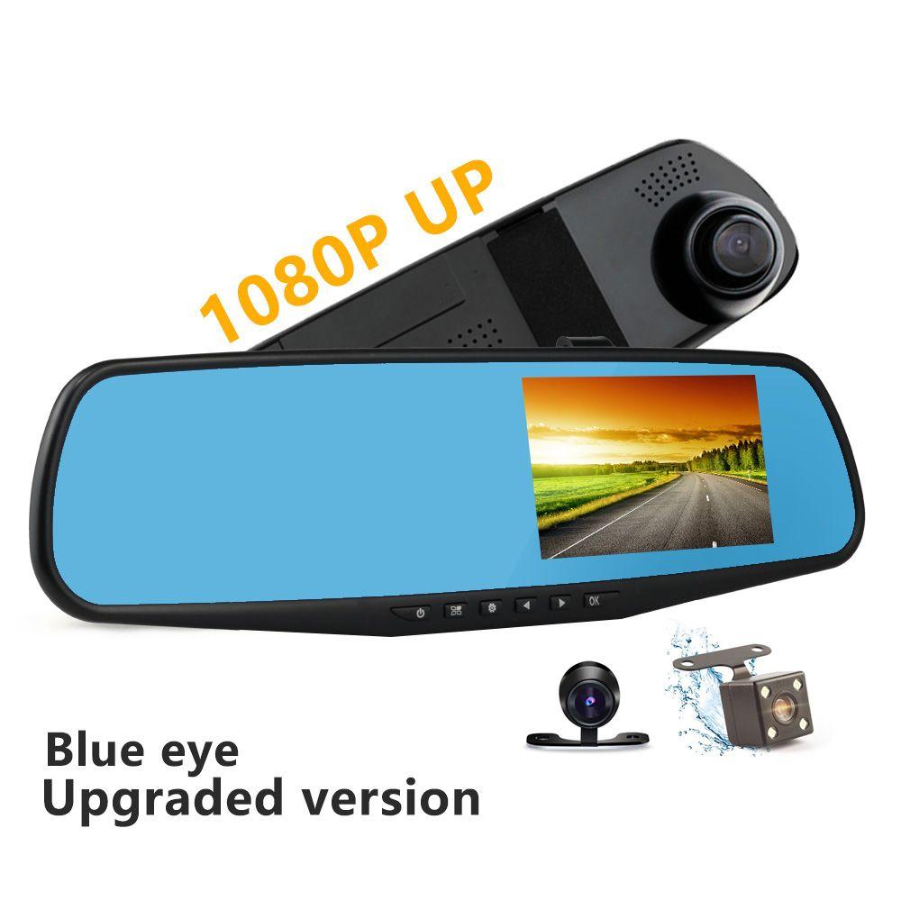 Black Car DVR Dual Lens Full HD 1080P Video Recorder Rearview Mirror With Rear view Automobile DVR Mirror Dash cam car dvrs