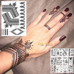 25 estilos Sexy Lace negro Henna tatuaje temporal pegatina mujeres mano joyería Tatoo pasta impermeable falso tatuaje pegatinas