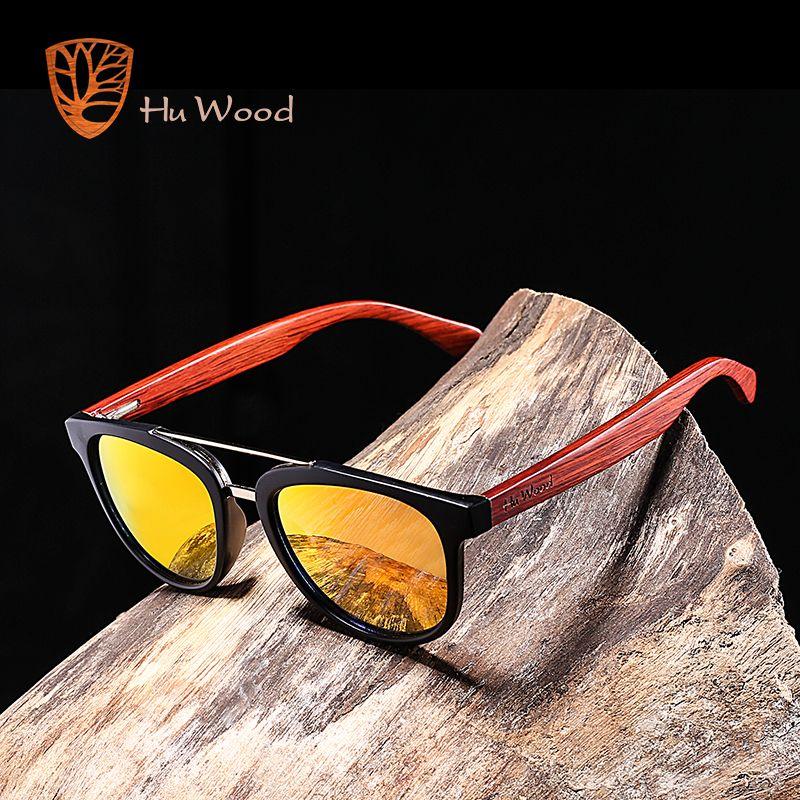 HU BOIS nouvelle mode miroir en argent Lentilles lunettes de Soleil lunettes de soleil en bambou pour homme Polarisées cadre de lunettes en plastique Conduite Ombre Bleu GR8018