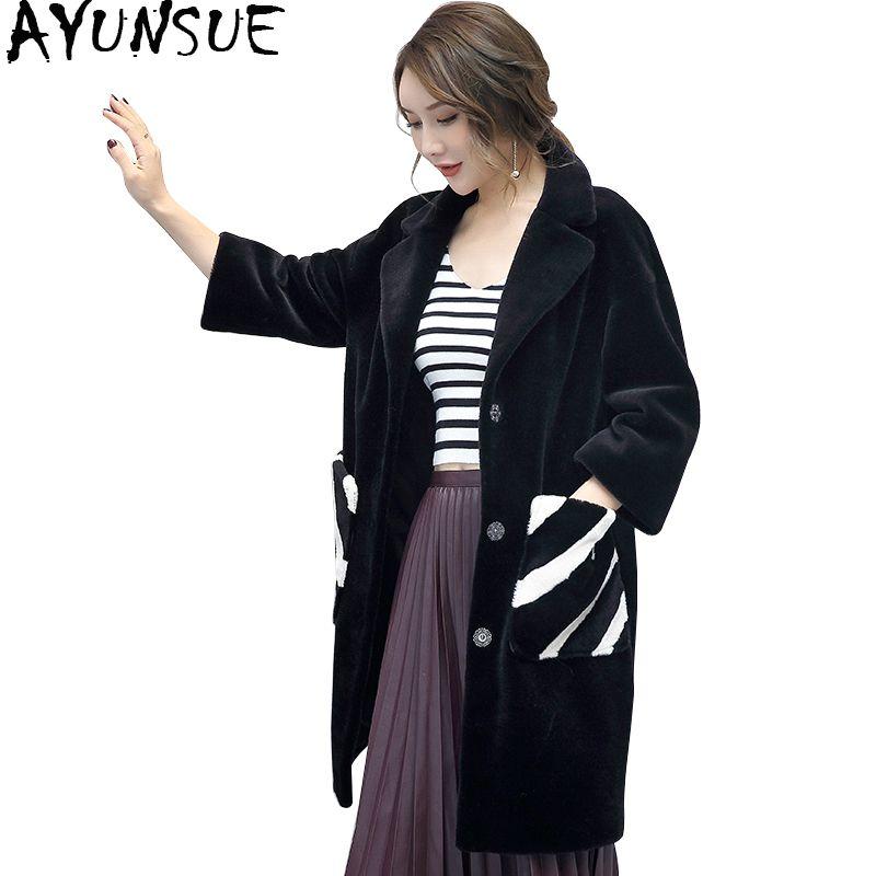 AYUNSUE 2017 Genuine Real Sheep Shearling Fur Coat Women Jacket Winter Warm Wool Fur Outerwear Coats Female Clothing WYQ766