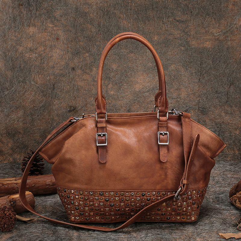 Retro Women Handbags Original Genuine Leather Casual Women Bags Tote Rivet Cow Leather Messenger Bags Shoulder Women Bag