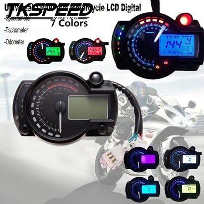 FREE SHIPPING 15000rpm Modern Motorcycle Digital Light LCD Digital Gauge Speedometer Tachometer Odometer Adjustable 7 color