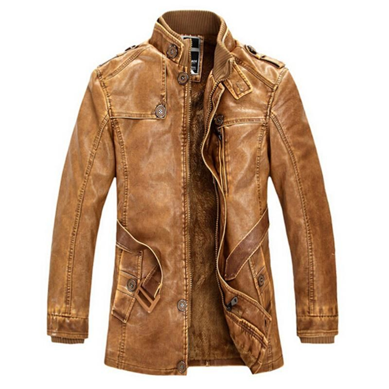 Leather Jacket men Slim <font><b>Warm</b></font> mens washed Leather Motorcycle Biker Jackets Standing Collar Coat Plus size XXXL Outwear parka