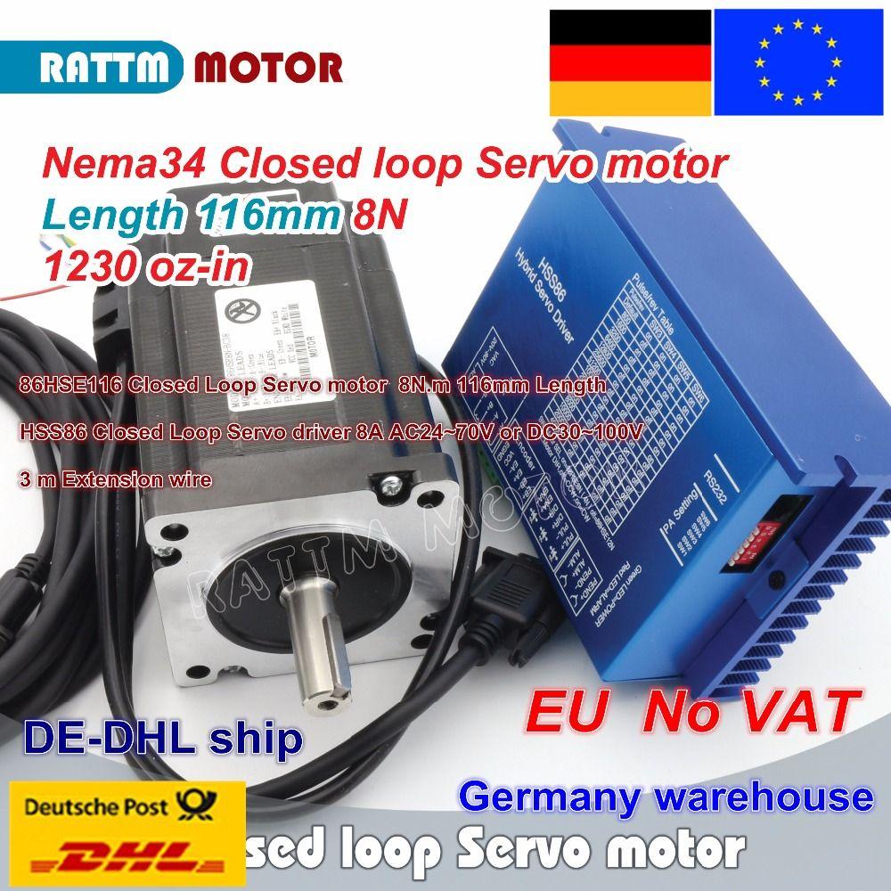 EU schiff Nema34 L-116mm Geschlossen Schleife Servo motor 8N. m Motor 6A Geschlossen Loop & HSS86 Hybrid Schritt-servo Fahrer 8A CNC Controller Kit