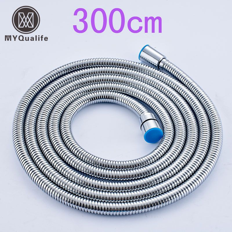 Stainless Steel 3M Flexible Shower Hose Bathroom Water Hose Replace Pipe Chrome Brushed Nickel