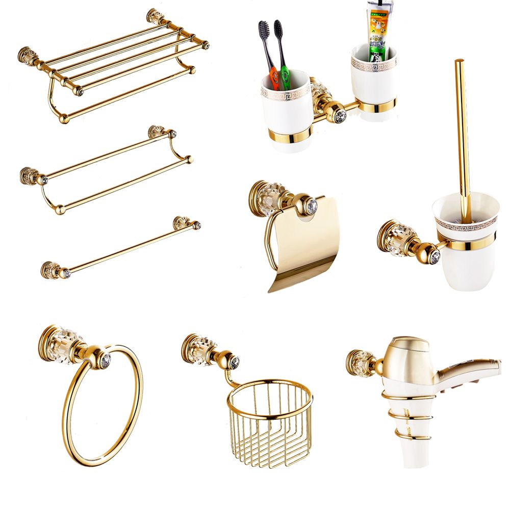 European Gold Bathroom Hardware Set Antique Crystal Bathroom Accessories Wall Mounted Polish Finish Brass Bathroom Products rw0