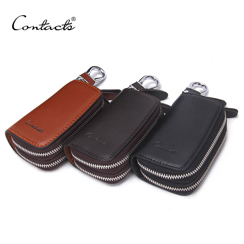 CONTACT'S Classic New Double Zip Men's <font><b>Genuine</b></font> Cow Leather Car Key Holder Multifunction Housekeeper High Class Motor Key Case