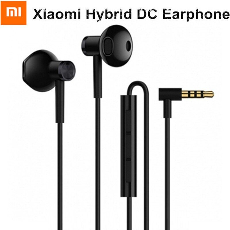 2018 New Original Xiaomi Hybrid DC Half In-Ear 3.5mm earphone Microphone Wire Control Dual Driver for Android IOS system